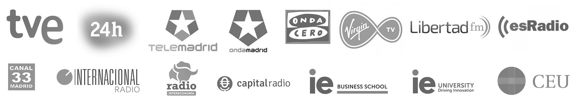 Medios de comunicación y universidades donde ha colaborado Javier Galué - Javi Galué - TVE - TELEMADRID - ONDA CER - ESRADIO - ONDA MADRID - Canal 24h - capital radio - IE - CEU