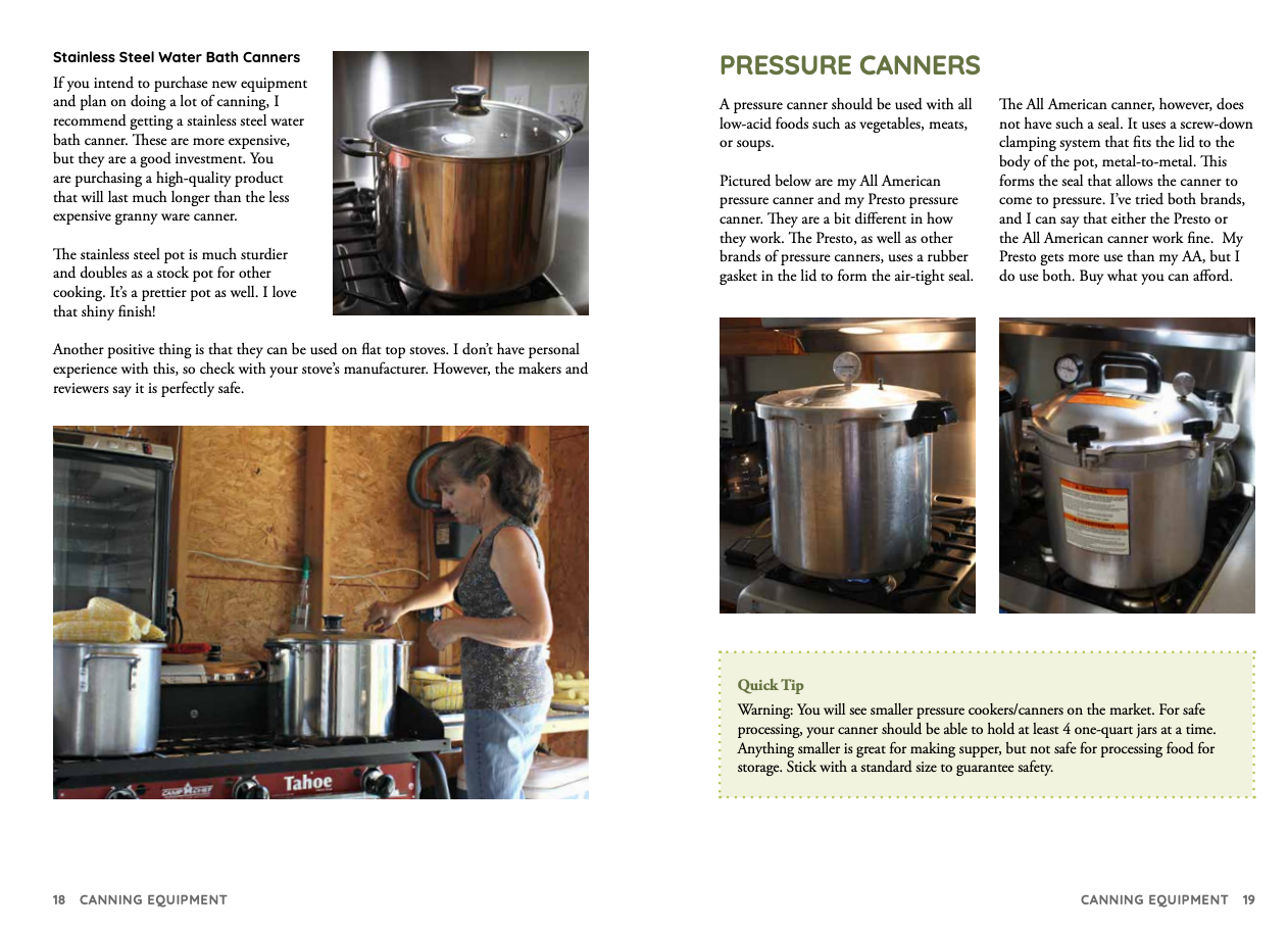 New page of Simply Canning Guide, Canner information.