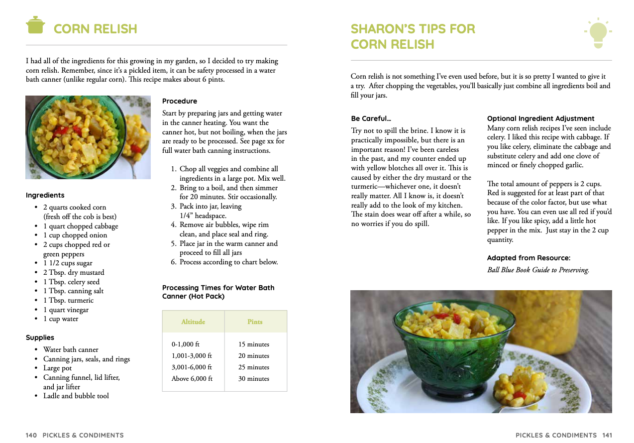 New Simply Canning book page, canning corn relish.