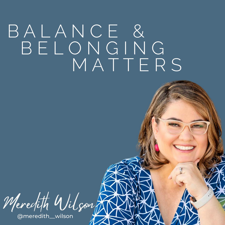 Balance & Belonging Matters Blue background, blue dress