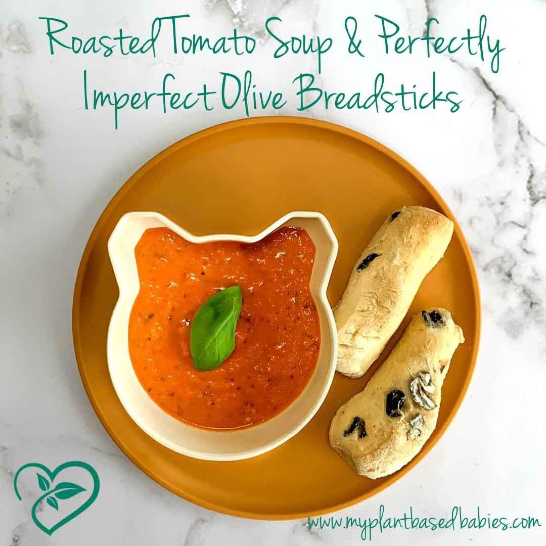 Roasted Tomato Soup & Olive Breadsticks