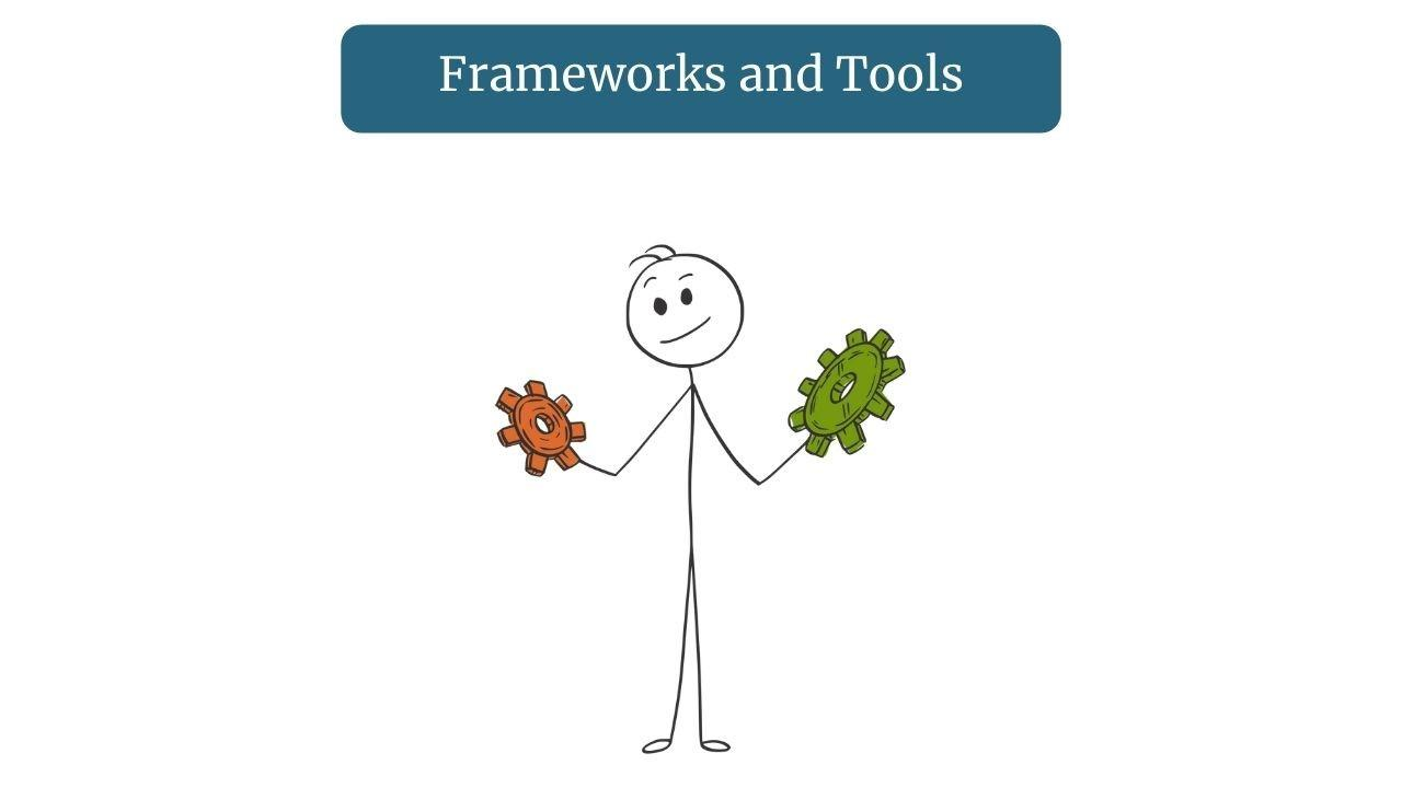 Stick man holding cogs for frameworks and tools