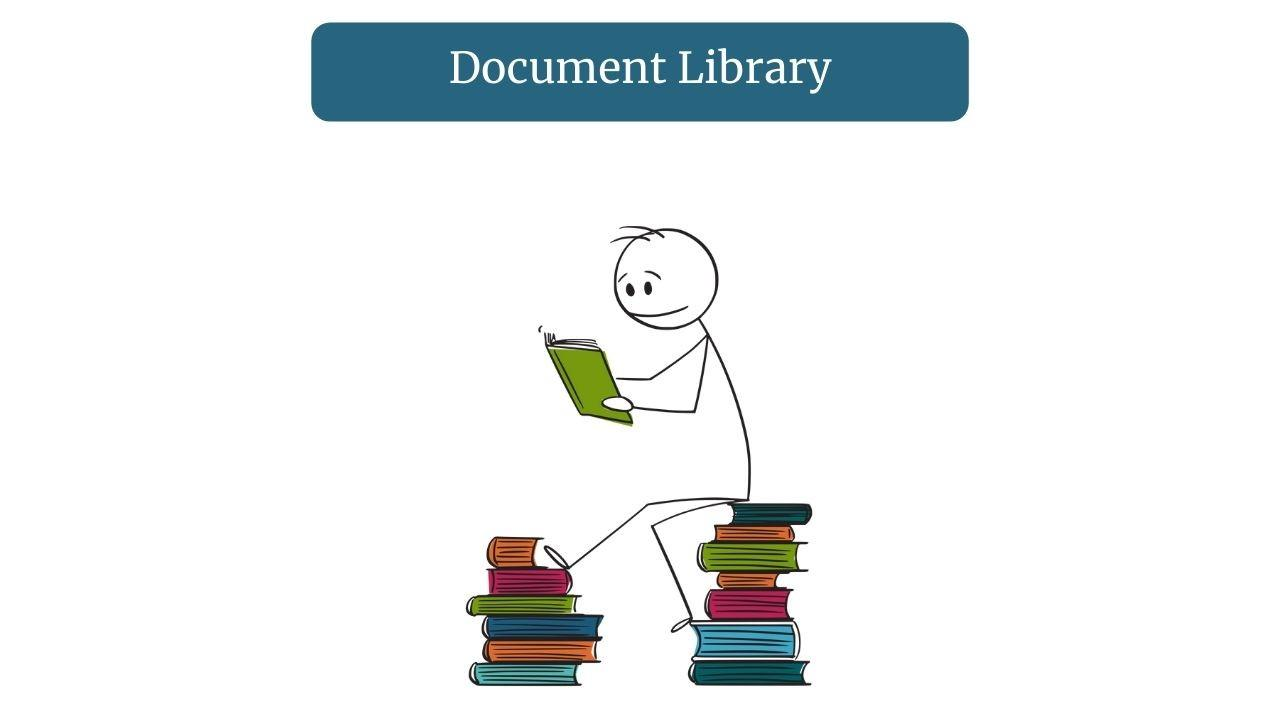 Stick man sat on books looking at one for document library