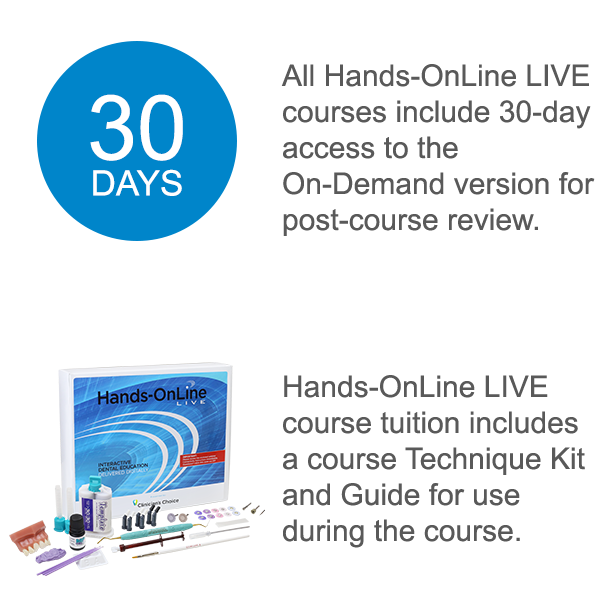 All Hands-OnLine LIVE courses include access to the On-Demand Version for post-course review. Hands-OnLine LIVE course tuition includes a course Technique Kit and Guide for use during a course.