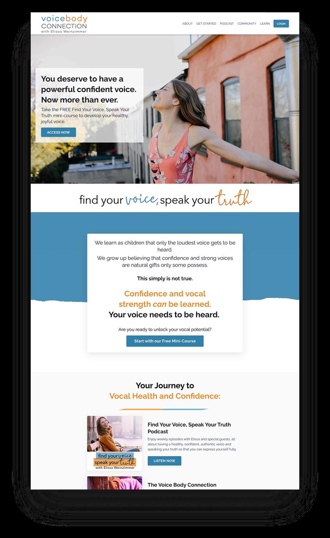 Kajabi website example of Voice Coaching Business