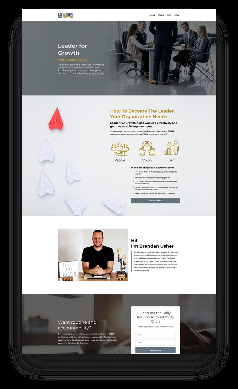 Mockup image of a Business Coach Kajabi website