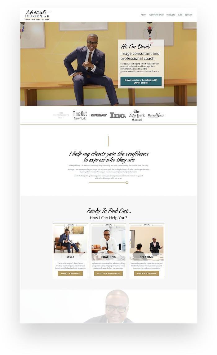 Kajabi website example of fashion styling coaching business