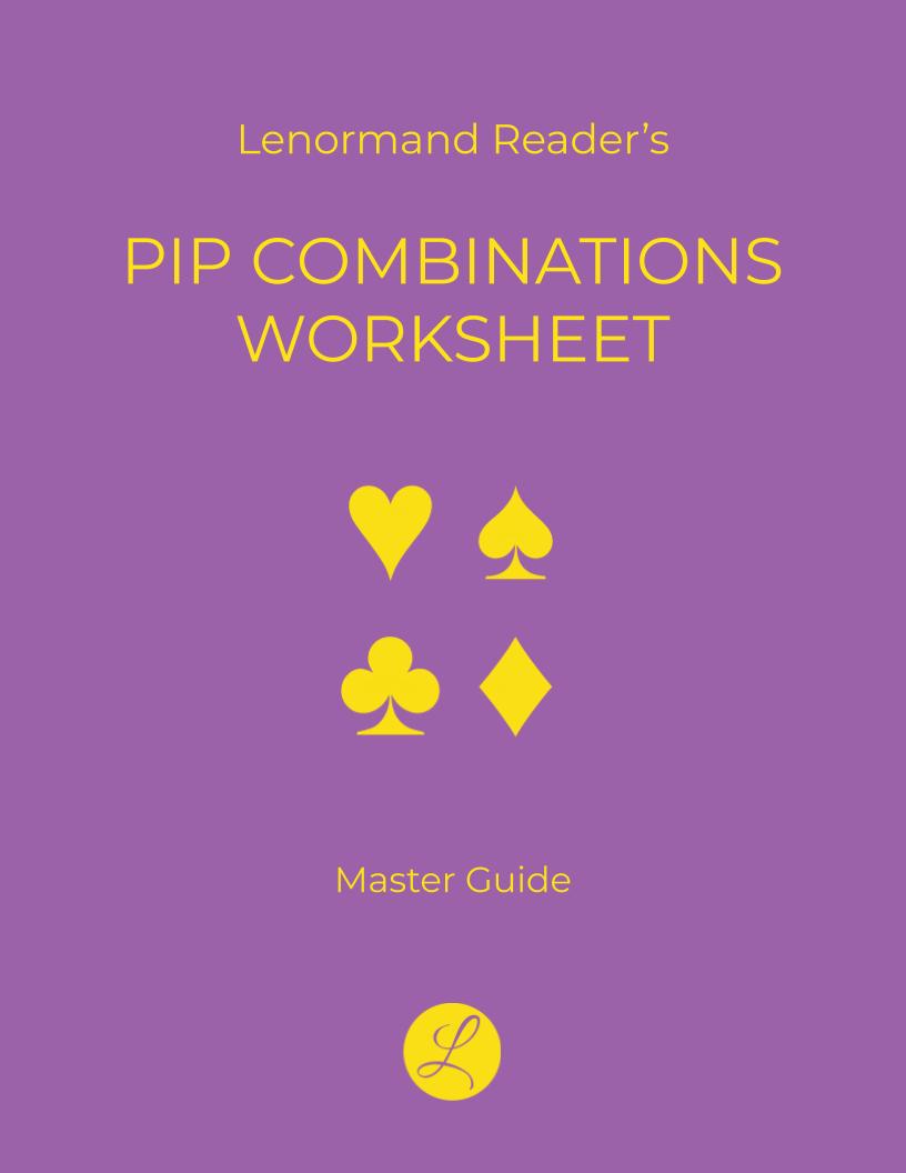 Pip Combinations Worksheet