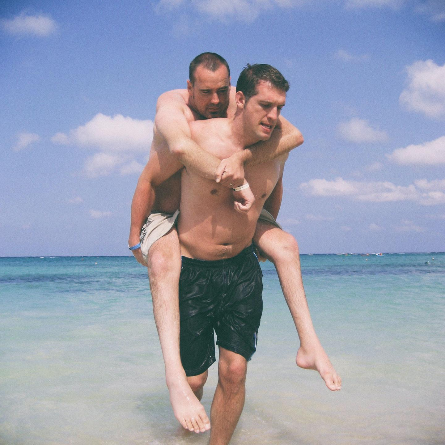 Justin in Jamaica carried by Patrick