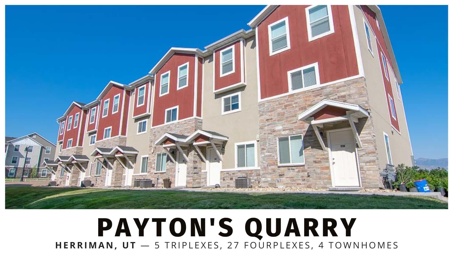 Payton's Quarry triplexes, fourplexes, and townhomes in Salt Lake County