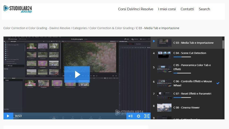 Video Corso Davinci Resolve Italiano