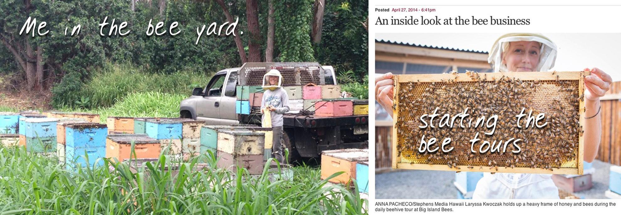 Laryssa giving a beekeeping tour