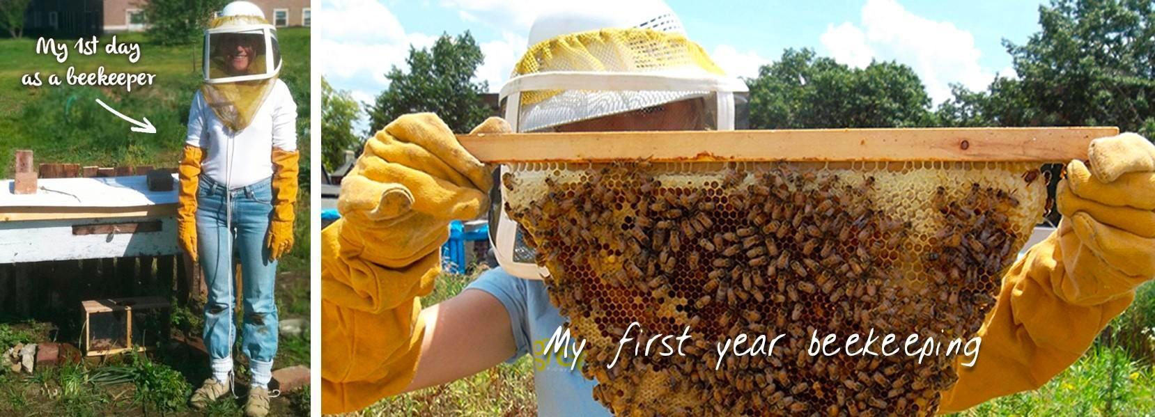 female beekeeper and top bar hive