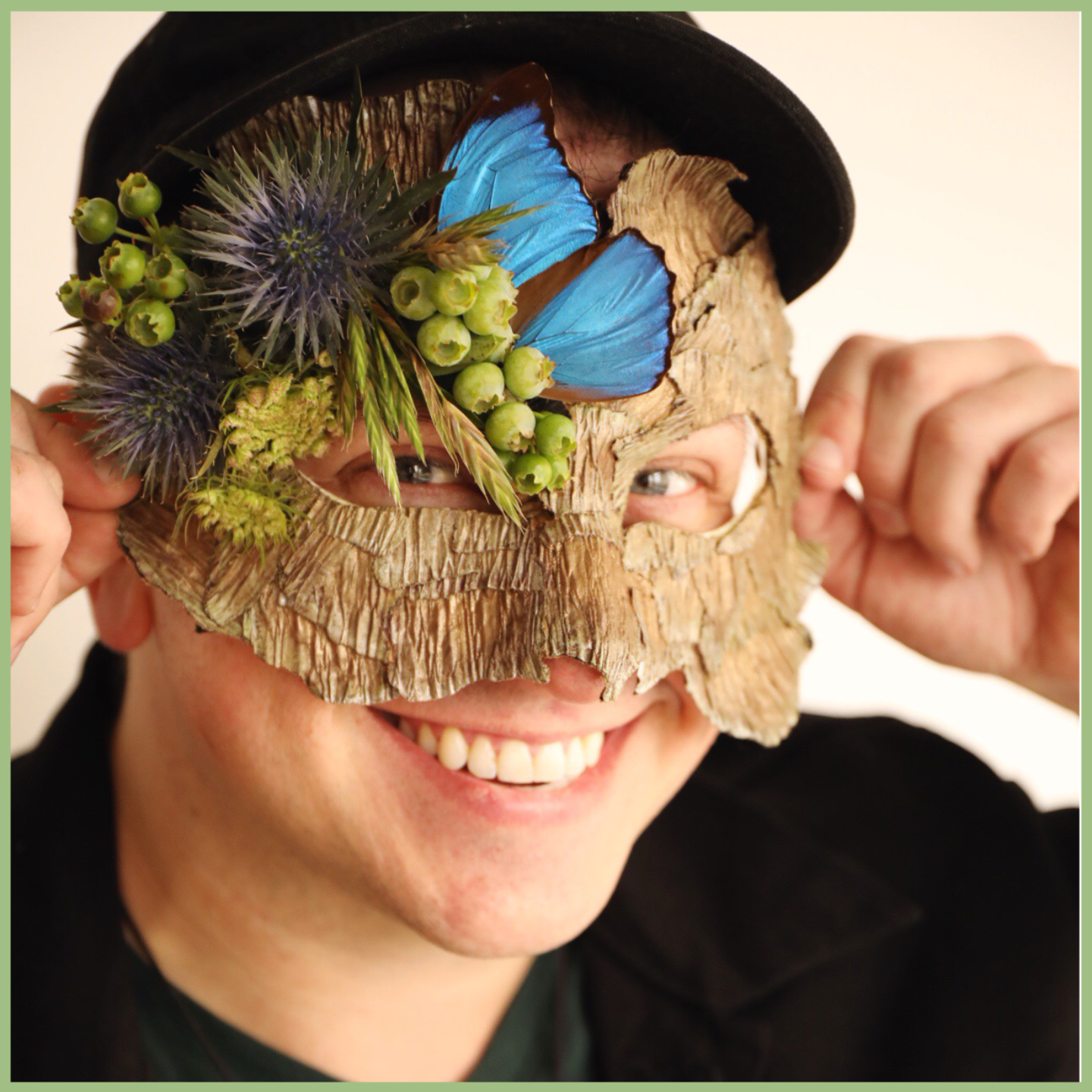 Guy wearing a floral mask