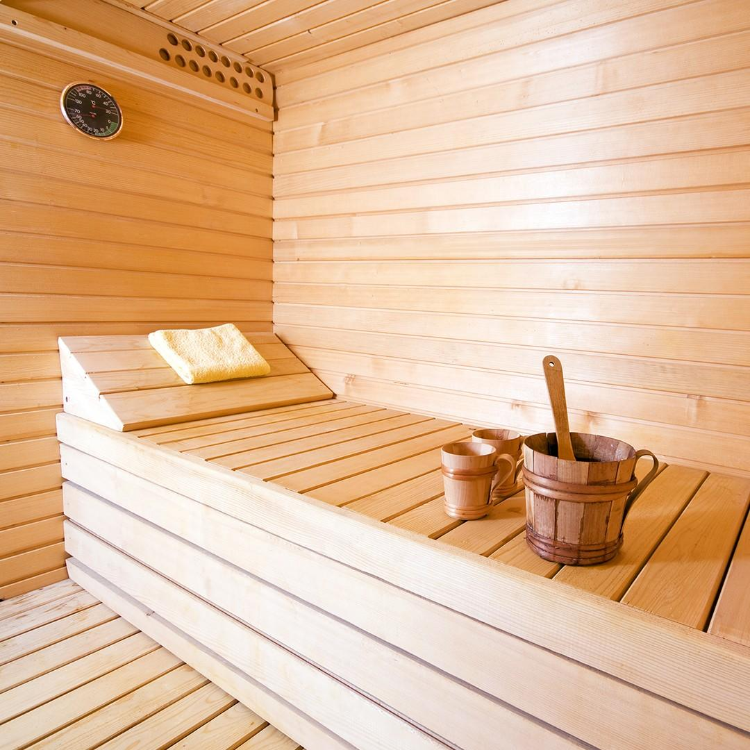 Inside of wood sauna - cleansing and detoxification natural cancer care mississauga - pureBalance Wellness Cancer Care