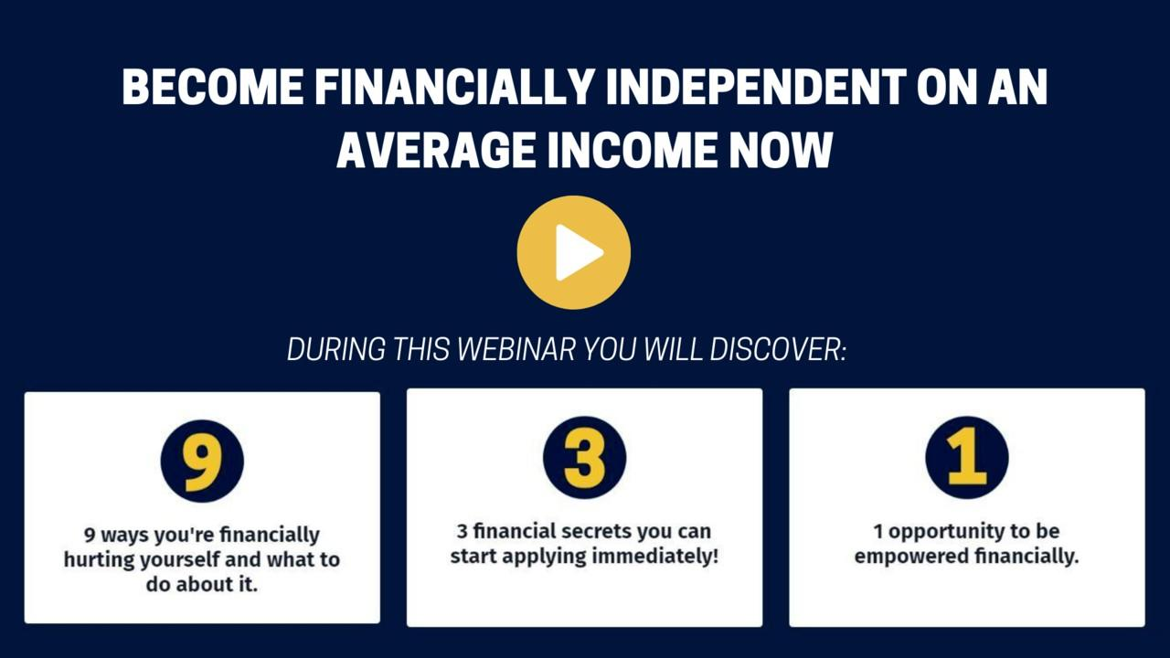 Free Webinar: Become financial independent on an average income