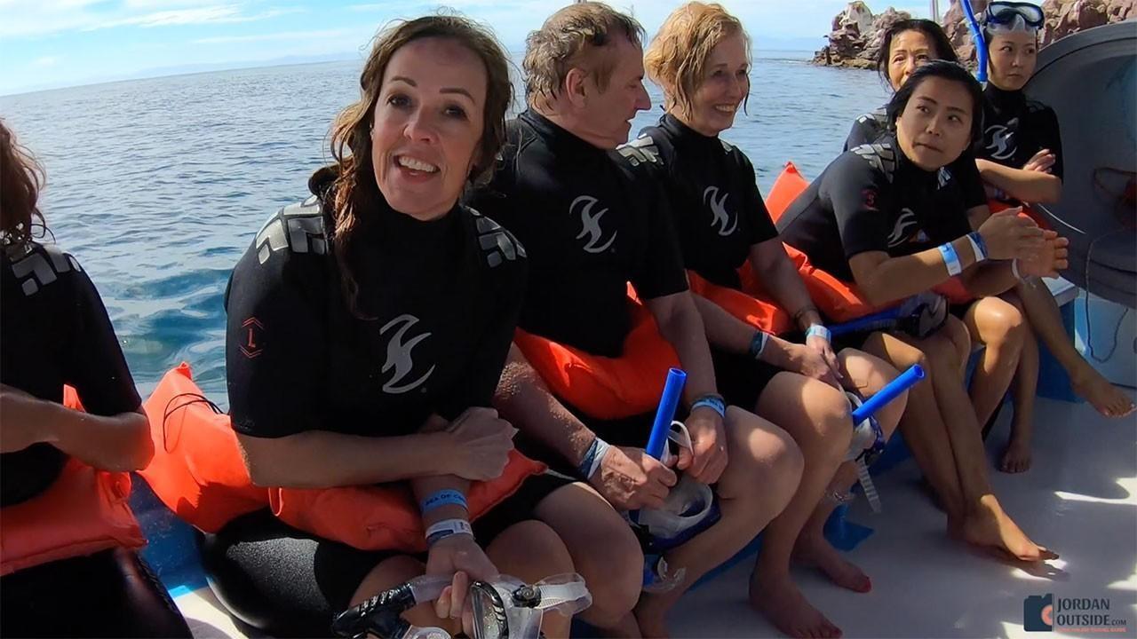 Julie on the boat after snorkeling