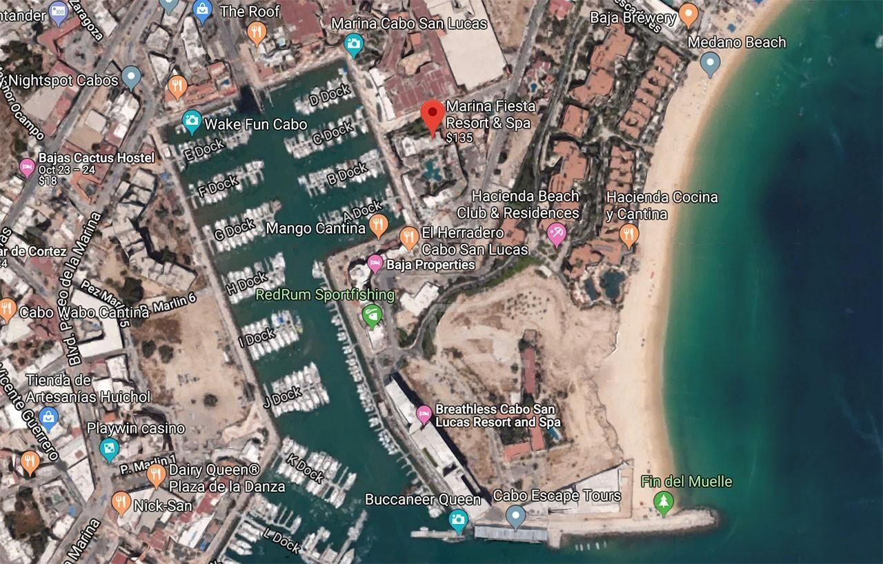 Map of Marina Fiesta Resort in Cabo San Lucas, Mexico