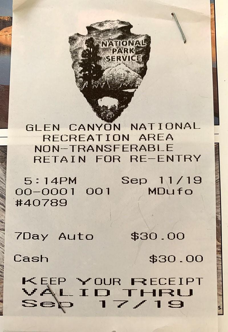 Glen Canyon Pass Receipt