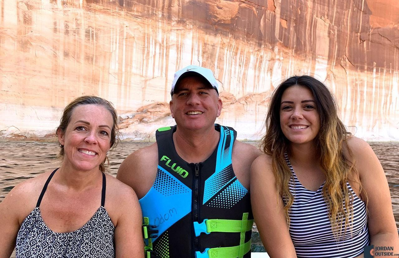 Julie, Jordan, and Ember at Lake Powell