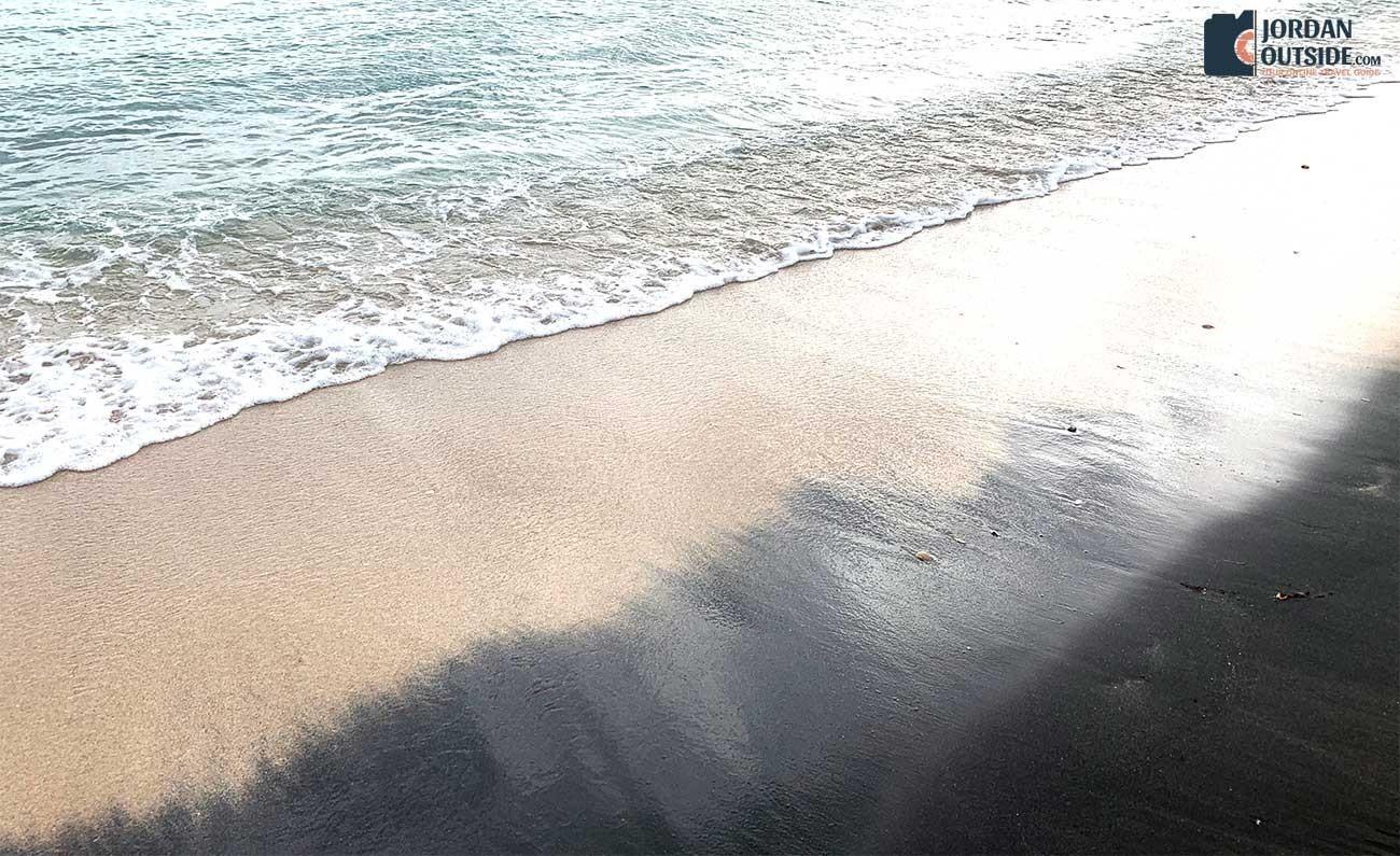 Black and white sand beach