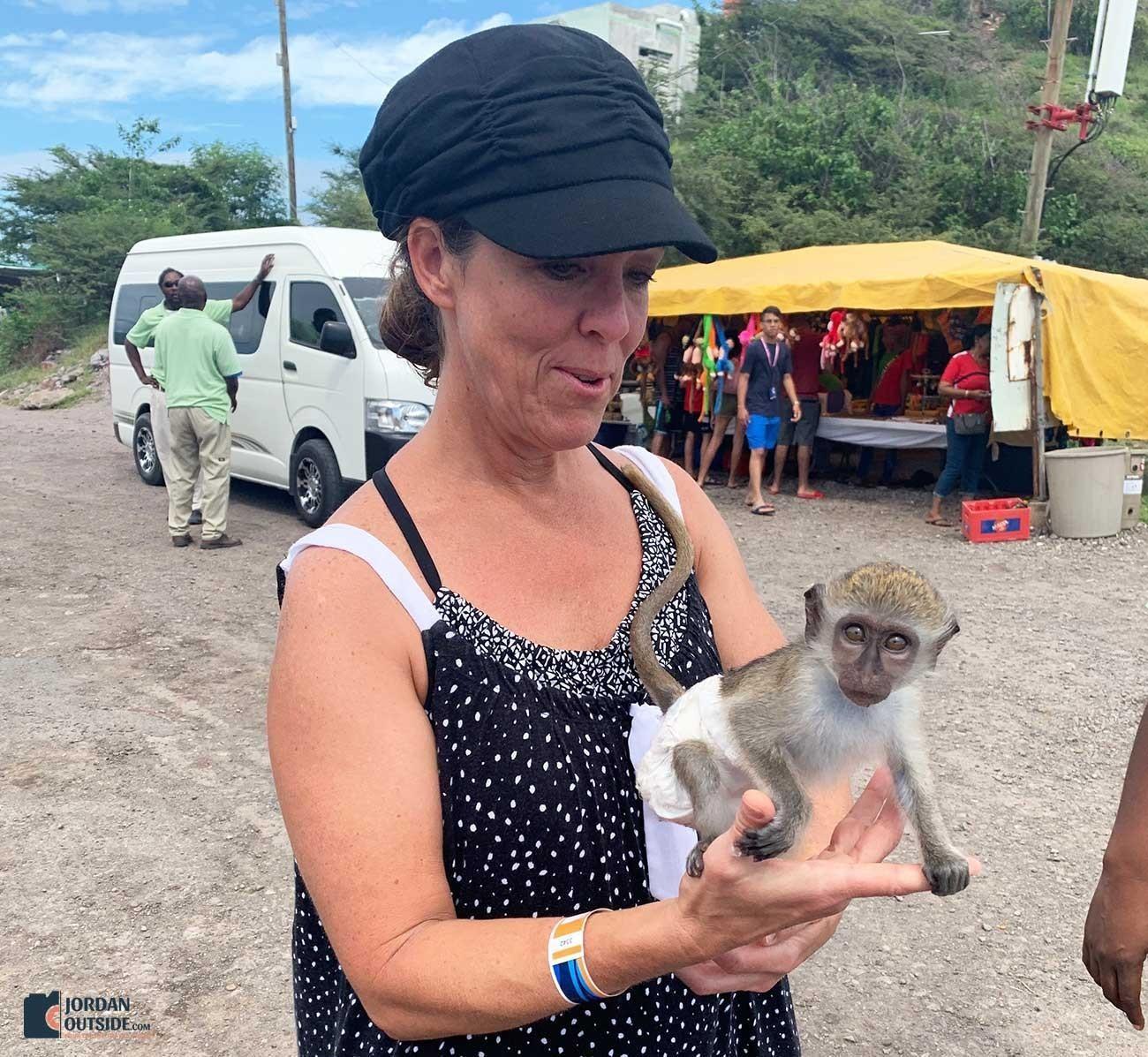 Julie holding a monkey