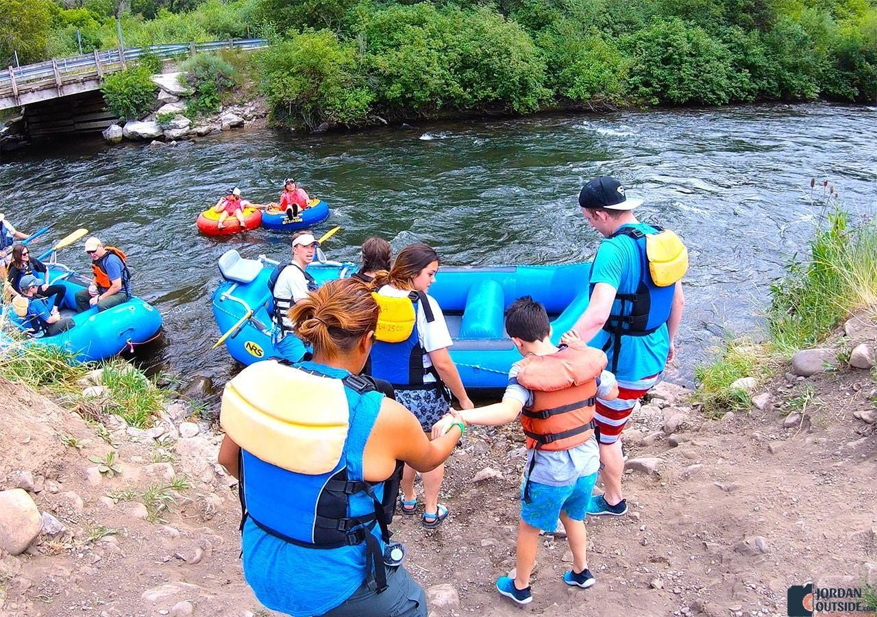 Getting into our river raft