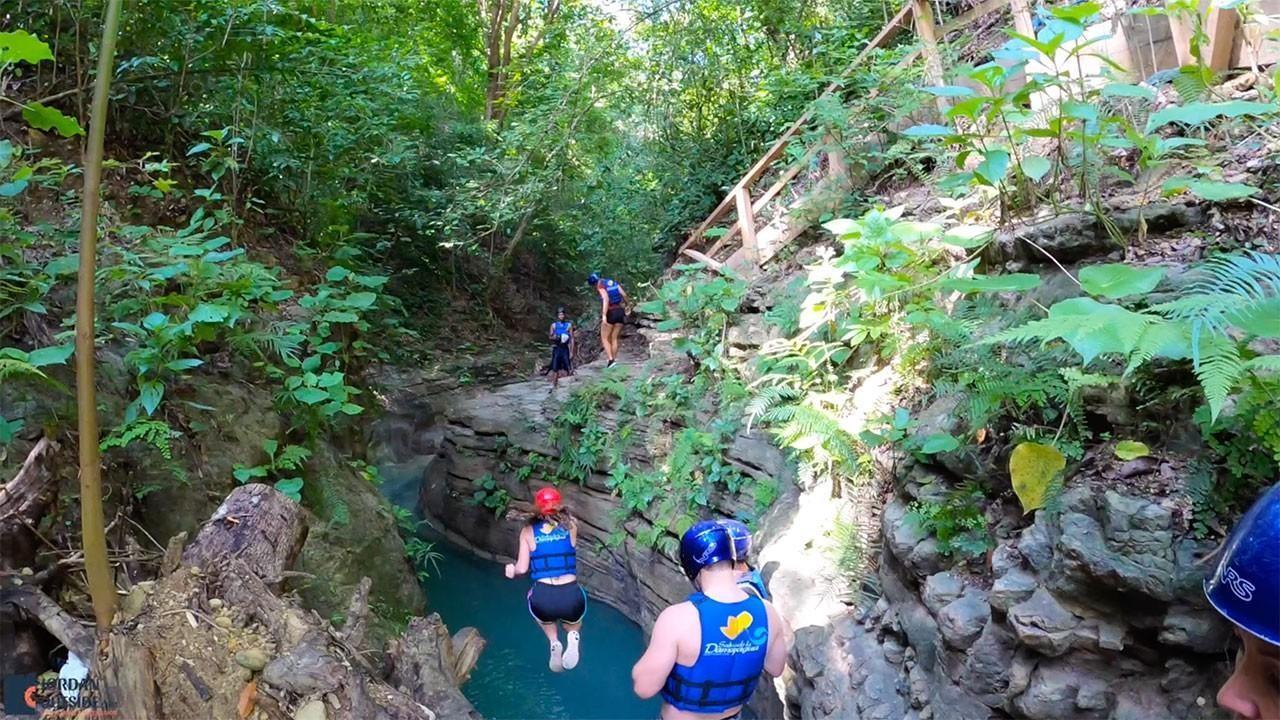 First jump at Damajagua Falls