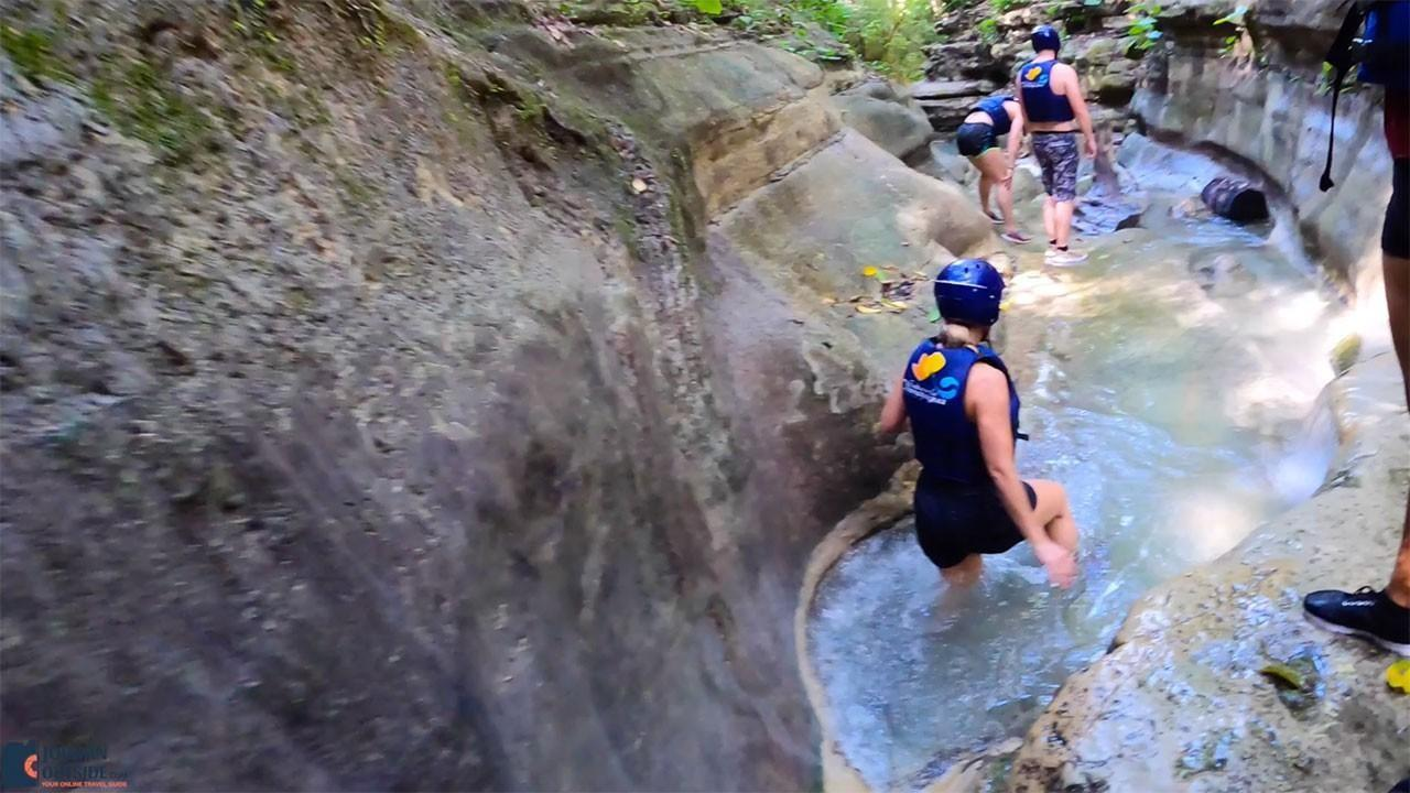 Shallow water at Damajagua Waterfalls