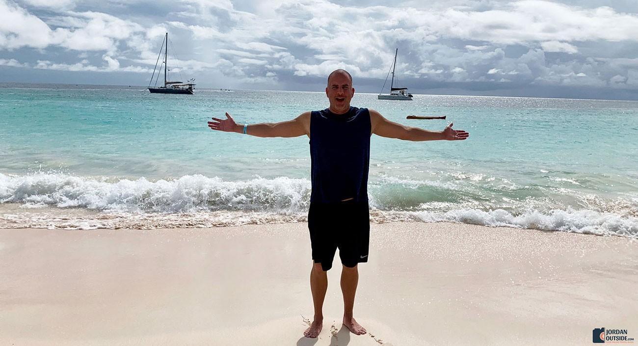 Jordan at the beach in Barbados
