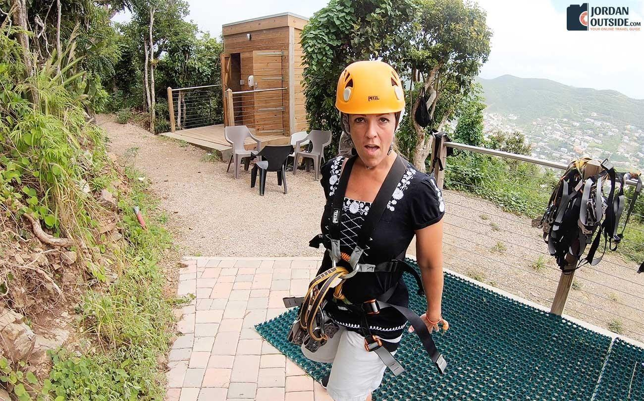 Julie with her zip line gear on