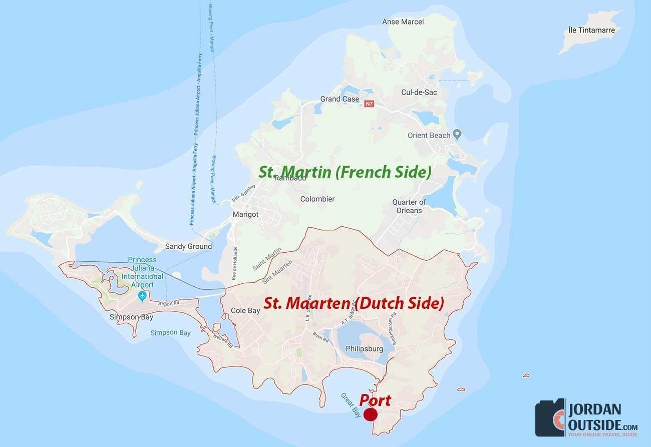 Map of St. Maarten and St. Martin