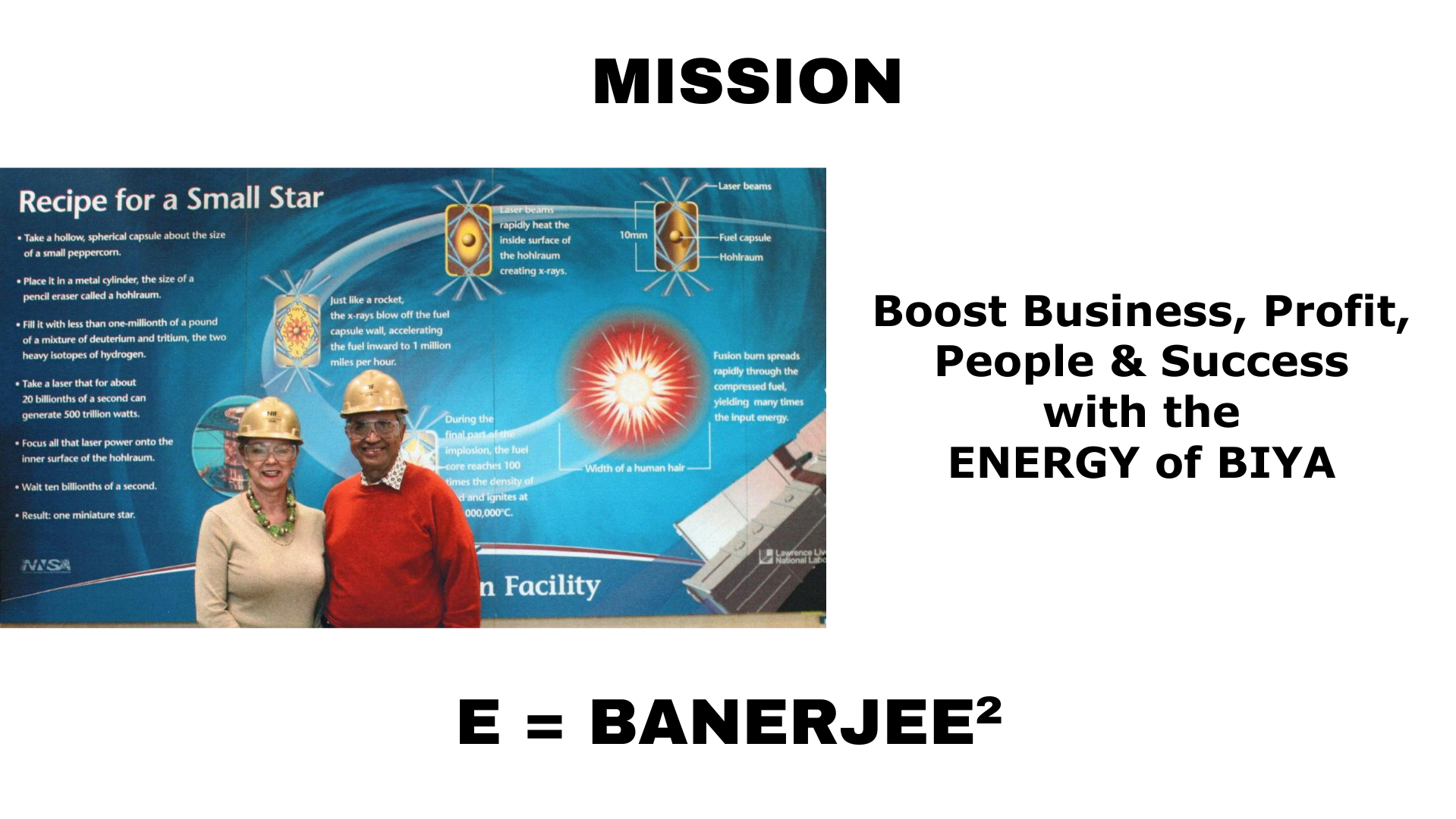 mission statement, team banerjee posing in front of mural depicting laser energy project details