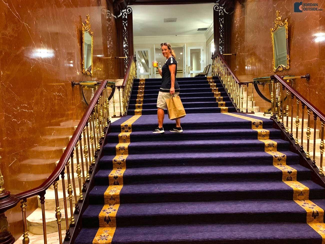 Julie on the purple staircase