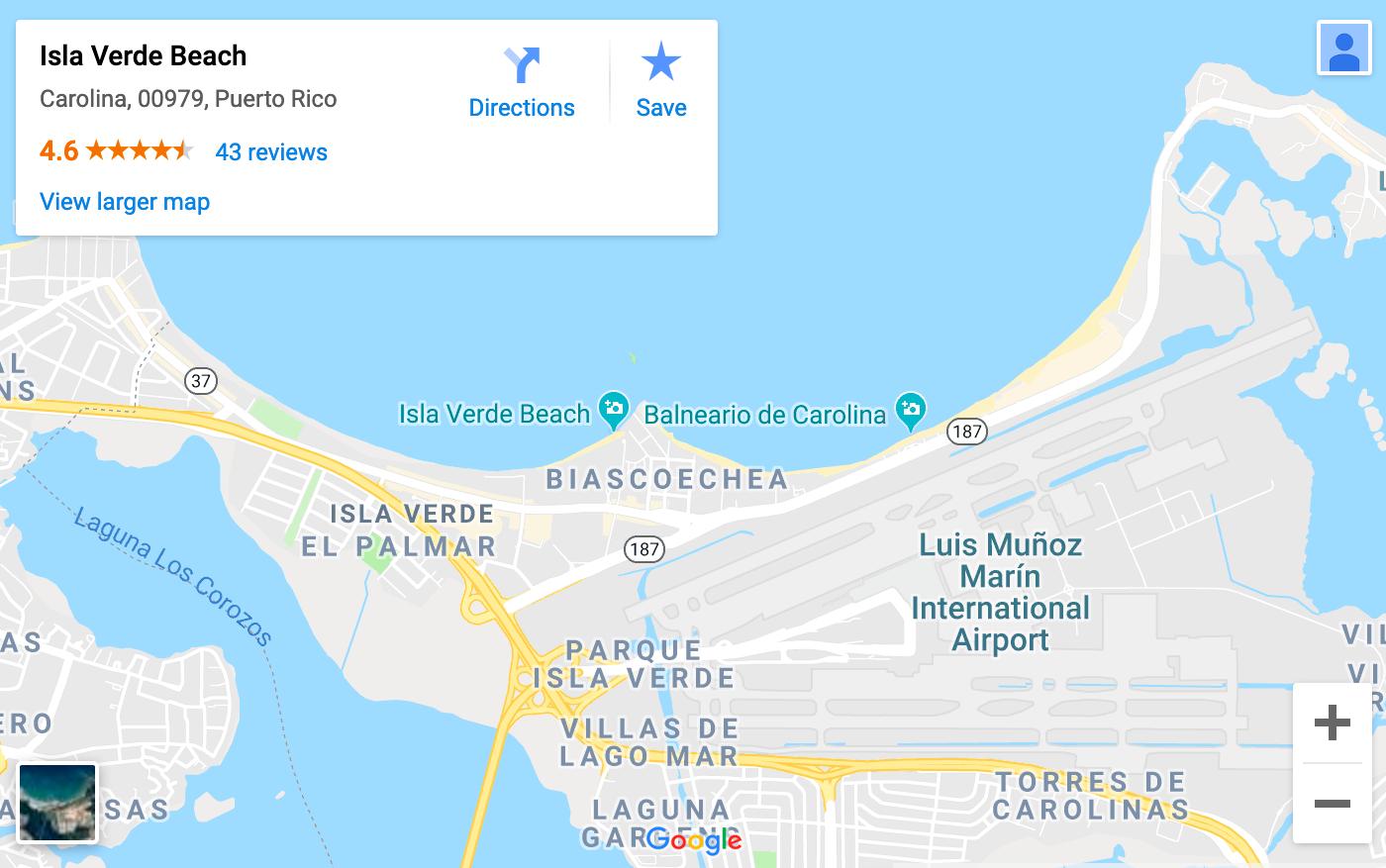 Isla Verde Beach Map