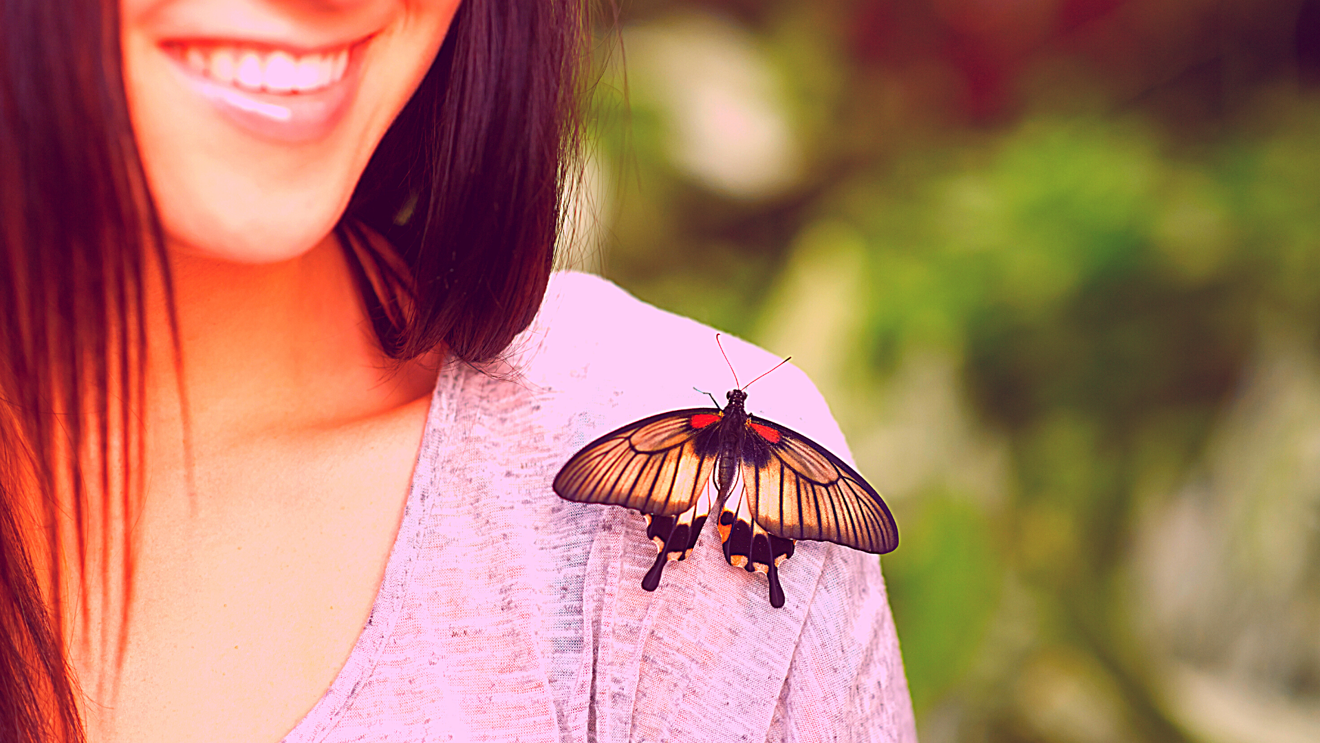 Butterfly on shoulder