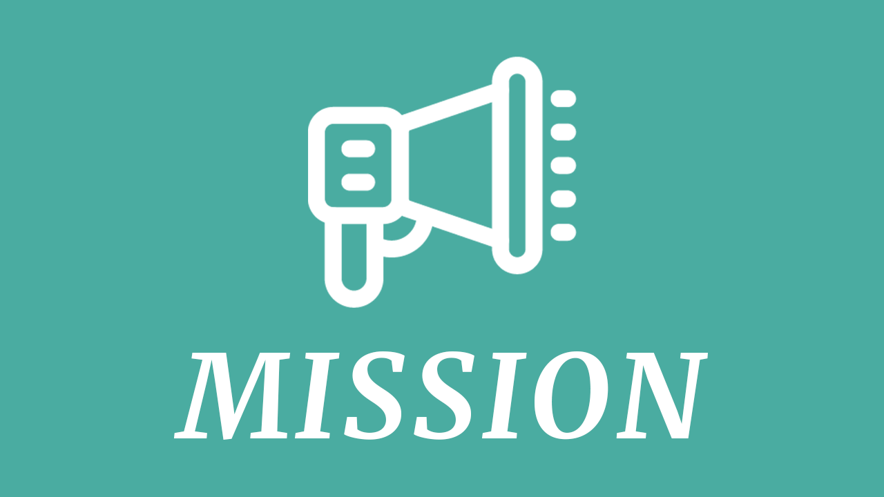 bullhorn icon with the word mission