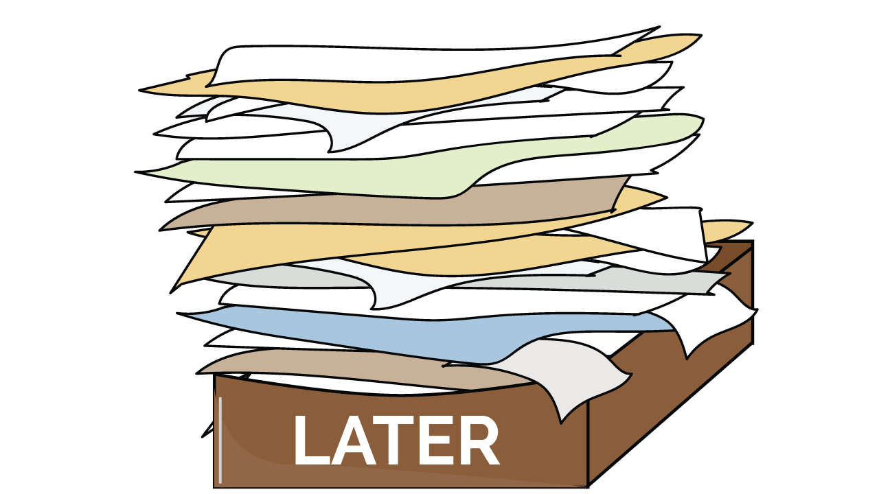 Executive functioning skill of Task Initiation - stack of filing