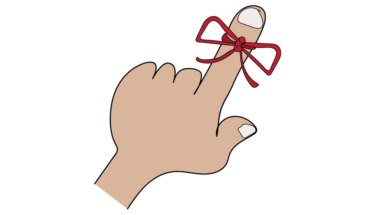 Executive functioning skill of Working Memory - ribbon on finger