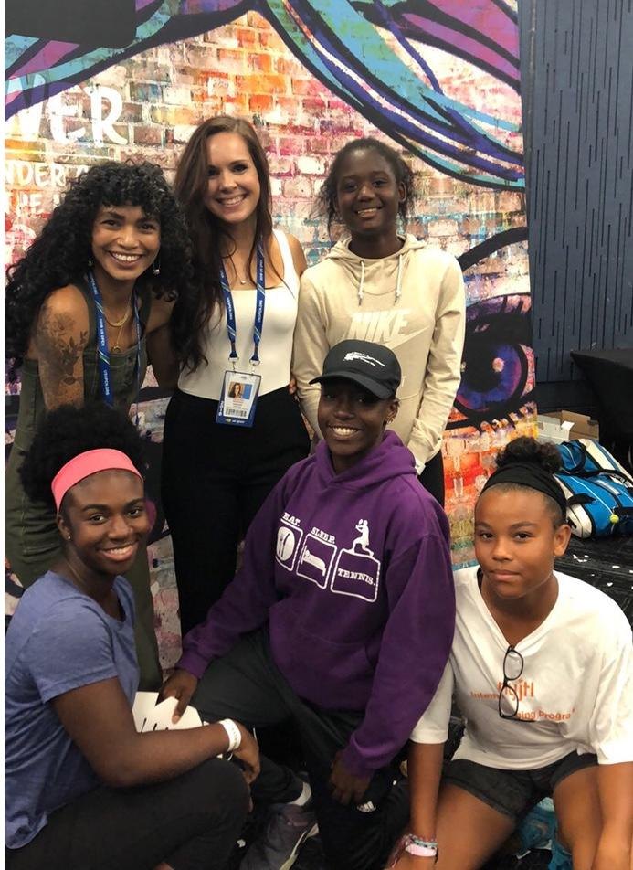 Kate Whitfield with Sophia Roe and girls at a FearlesslyGiRL x USTA event at the US Open.