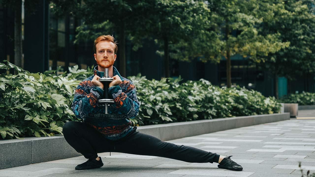 pu bu drop stance squat