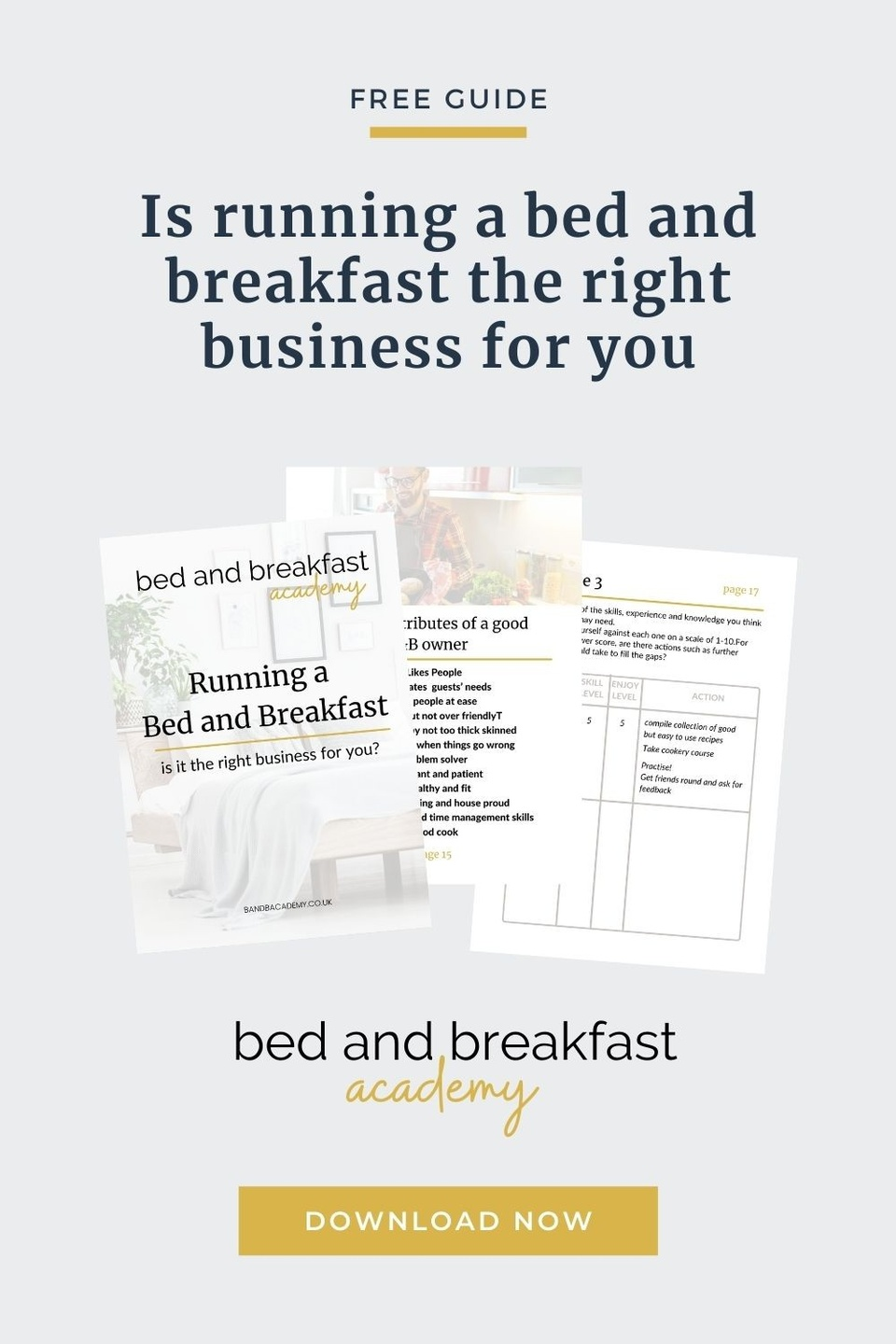 mockup showing running a bed and breakfast is it for you workbook