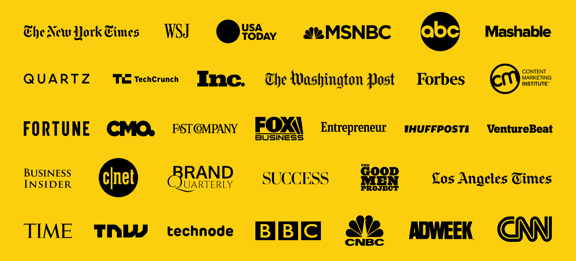 New York Times, WSJ, and other media logos