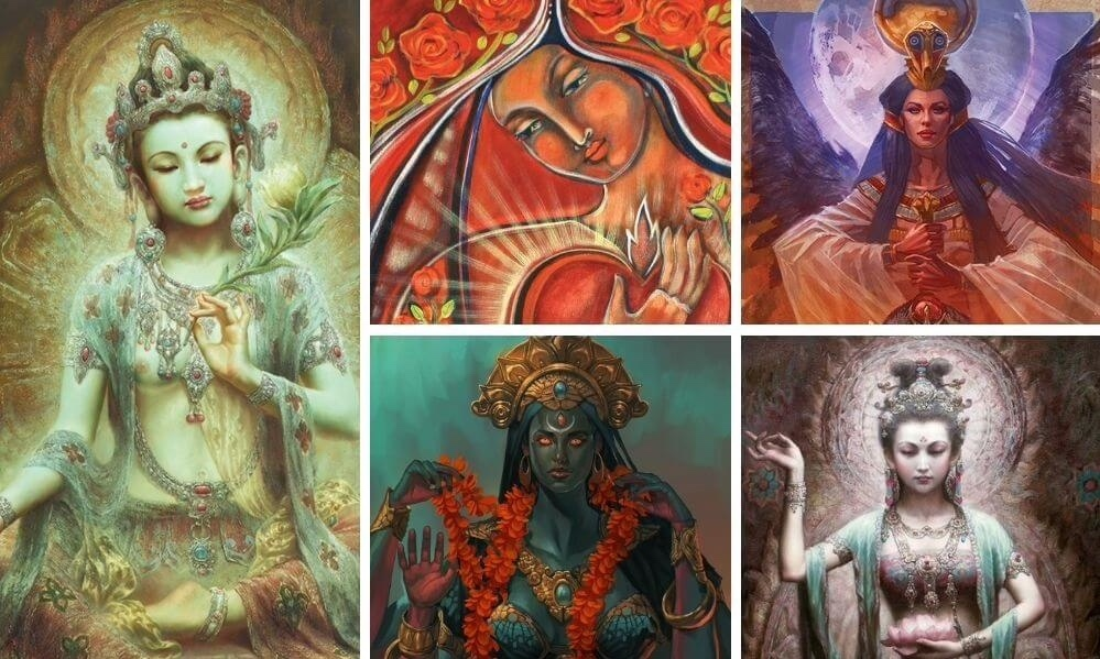 Kuan Yin Transmission images of the 5 Divine Mothers