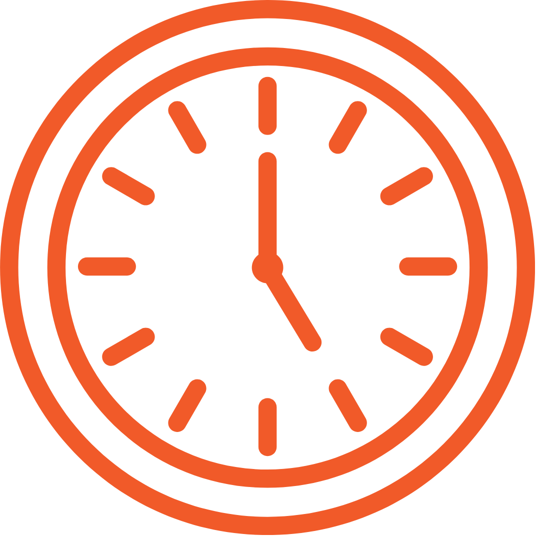 clock graphic showing 5 o'clock