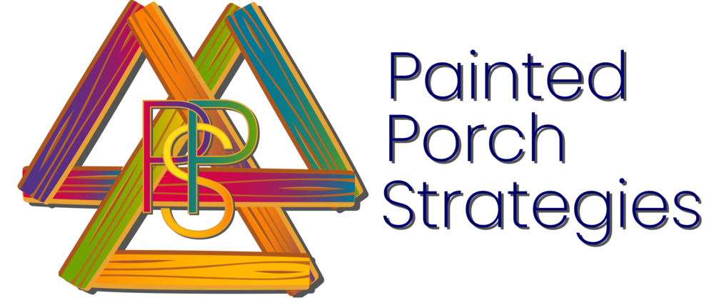 Painted Porch Strategies Logo. Three intersecting triangles made of multi-colored wood.