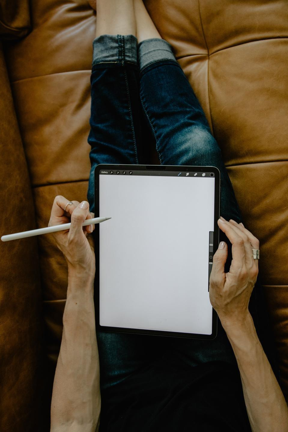 Journal writing on tablet