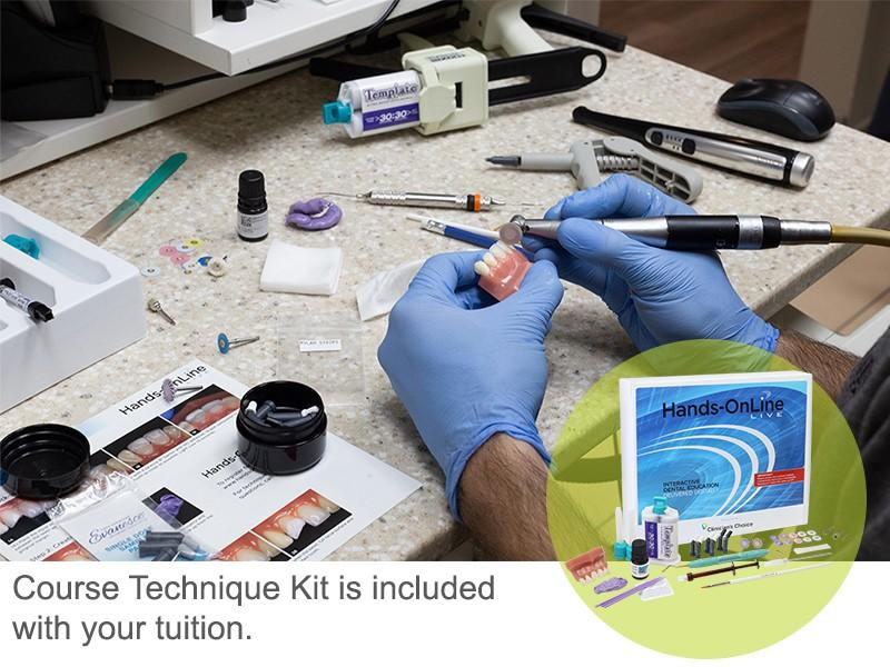 Course Technique Kit is included in your tuition.  Choose on-demand dental courses and learn on your own schedule.