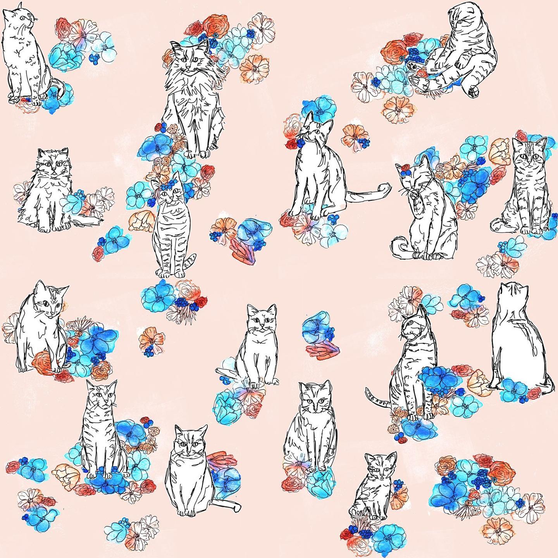 cats in the garden art