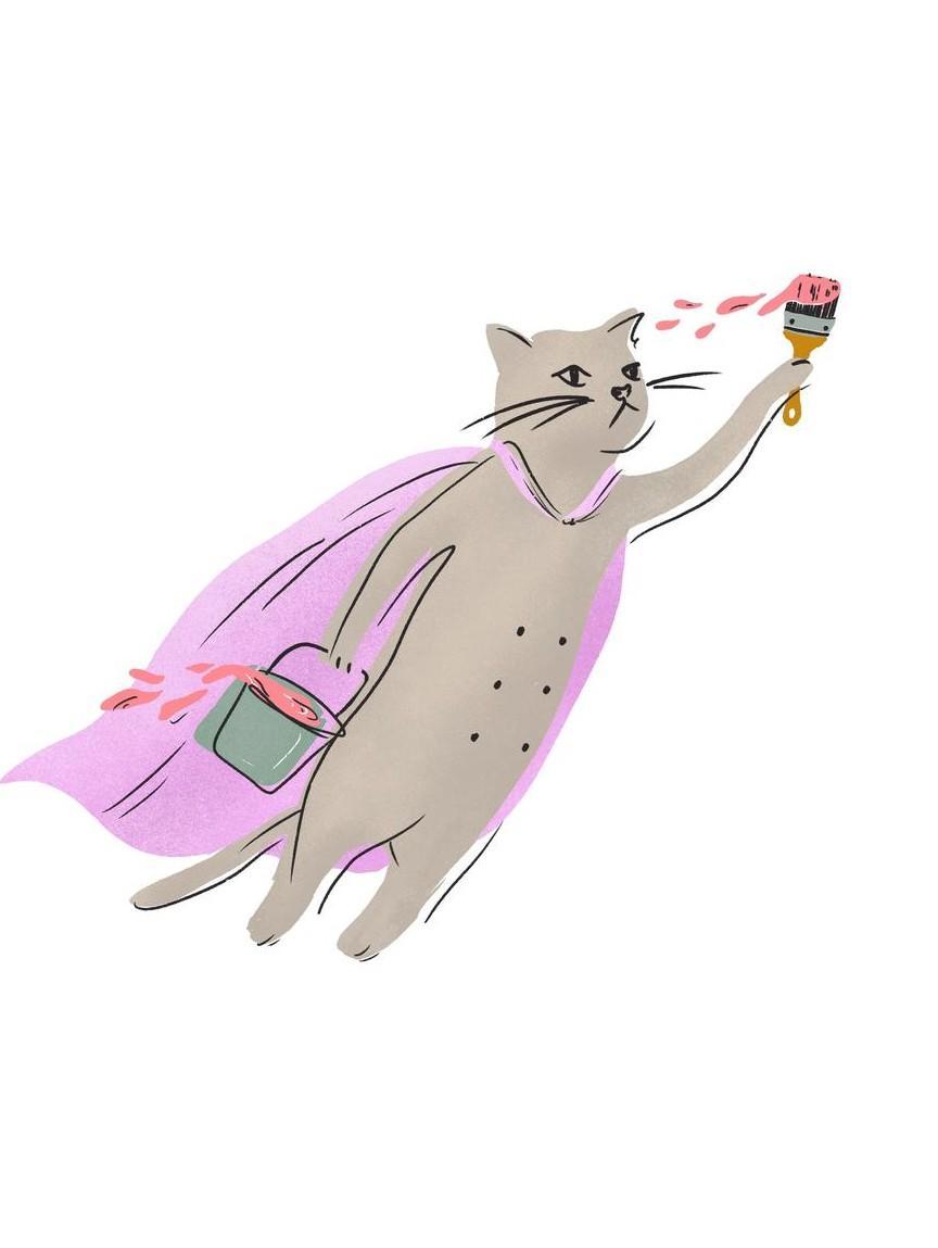 flying cat illustration